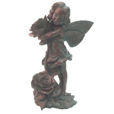 21 in. Fairy Lillian Rose Bronze Patina Collectible Garden Statue