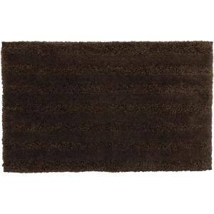 Basic Stripe Coffee 20 in. x 34 in. Nylon Machine Washable Bath Mat
