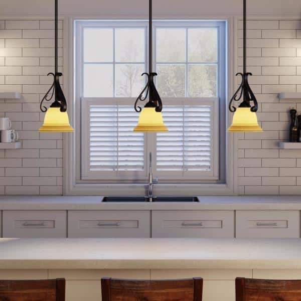 Progress Lighting Torino 1 Light Forged Bronze Kitchen Island Mini Pendant With Tea Stained Glass P5153 77 The Home Depot