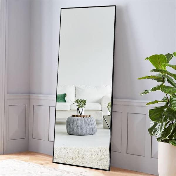 64 17 In X 21 26 Oversize Modern, Full Length Mirror Black Metal Frame