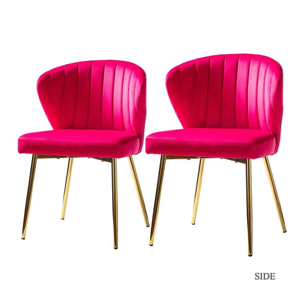 Jayden Creation Milia Fuchsia Tufted, Fuchsia Dining Room Chairs