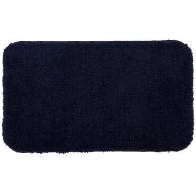 Pure Perfection Navy 17 in. x 24 in. Nylon Machine Washable Bath Mat