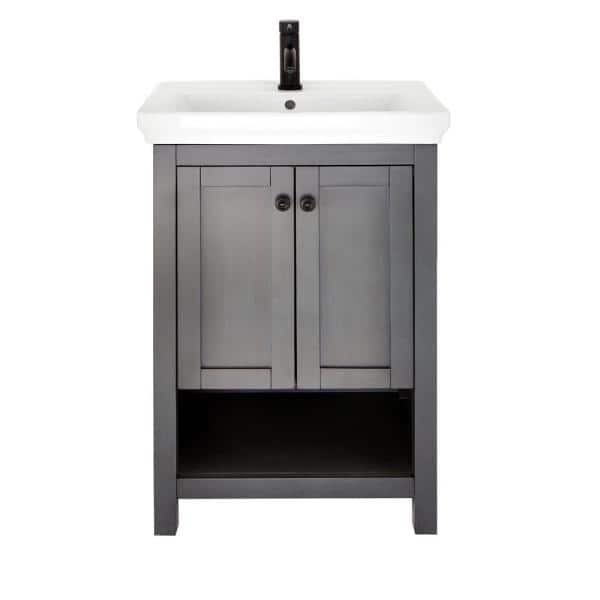 Home Decorators Collection Hanley 23 3 4 In W X 18 In D Bath Vanity In Charcoal Grey With Porcelain Vanity Top In White Hagos2417 The Home Depot