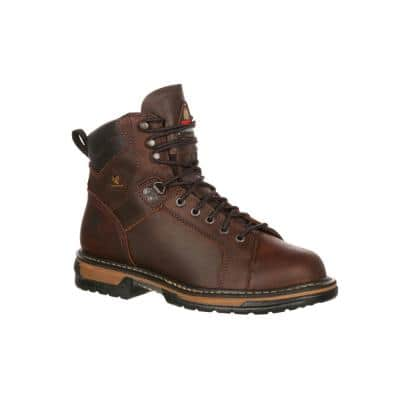 Men's IronClad Waterproof 6 inch Lace Up Work Boots - Soft Toe - Brown 10 (M)