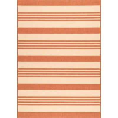 Robin Striped Coastal Terracotta 8 ft. x 11 ft.  Indoor/Outdoor Area Rug