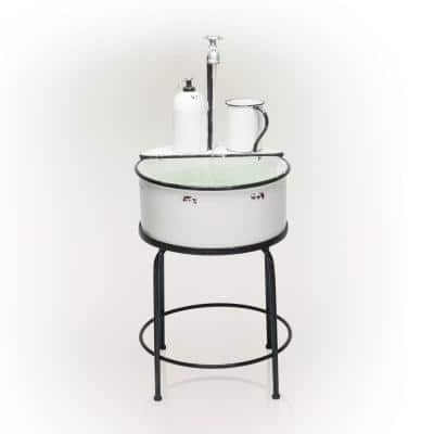 34 in. Tall Outdoor Antique Metal Sink Water Fountain, White