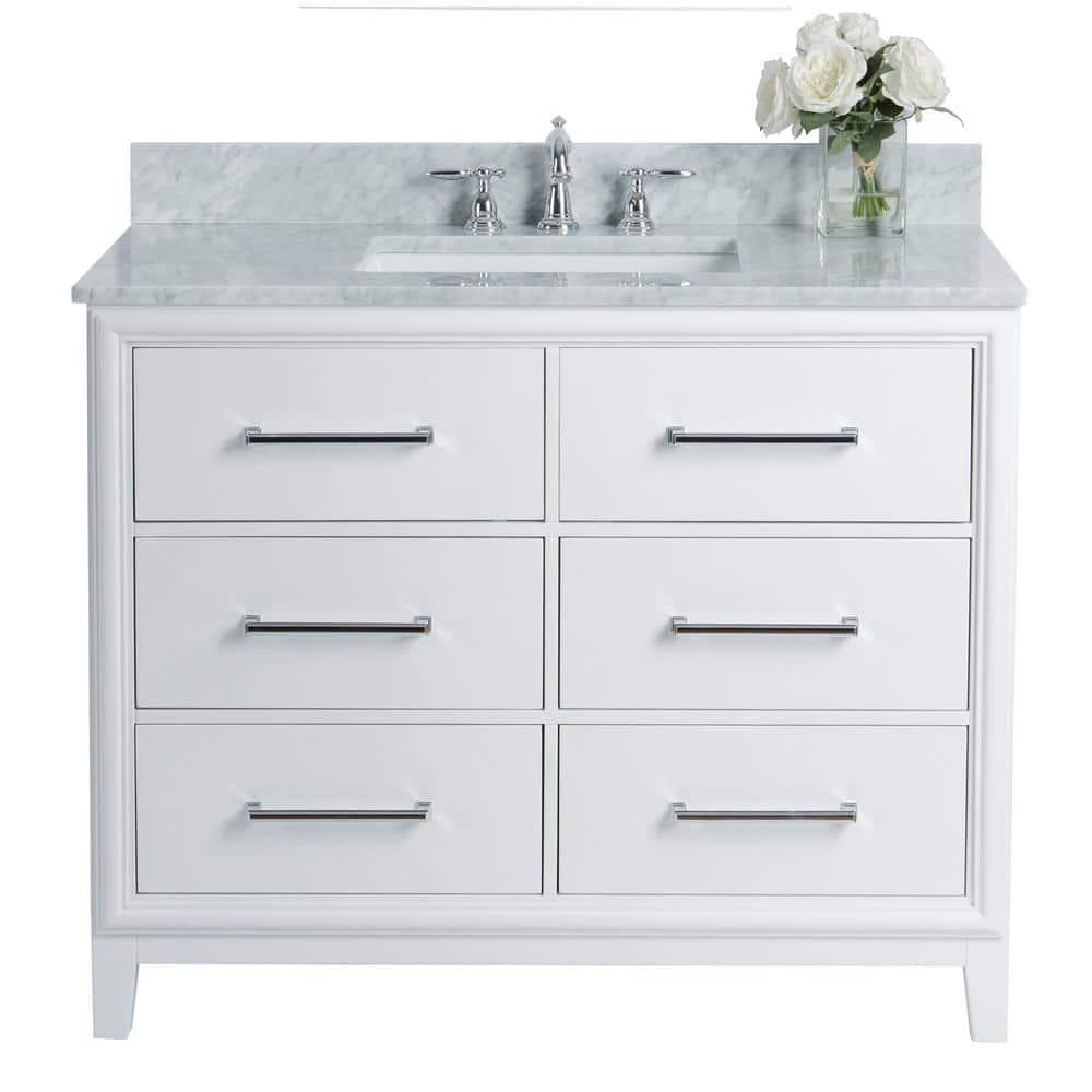 Ancerre Designs Ellie 42 In W X 22 In D Vanity In White With Marble Vanity Top In White With White Basin Vts Ellie 42 W Cw The Home Depot