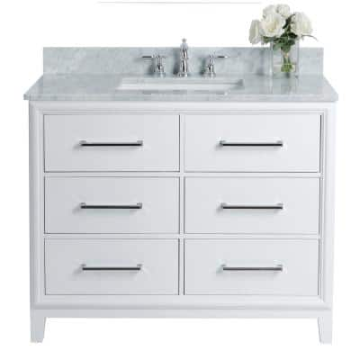 Ellie 42 in. W x 22 in. D Vanity in White with Marble Vanity Top in White with White Basin