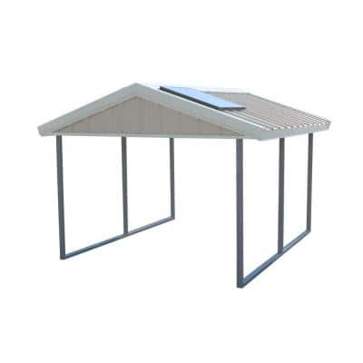 Premium Canopy 10 ft. x 12 ft. Ash Grey and Polar White All Steel Carport Structure with Durable Galvanized Frame