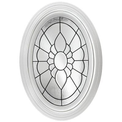 23.25 in. x 35.25 in. Decorative Glass Fixed Oval Geometric Vinyl Windows Floral PE Glass, Nickel Caming in White