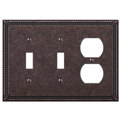 Imperial Bead 3 Gang 2-Toggle and 1-Duplex Metal Wall Plate - Tumbled Aged Bronze