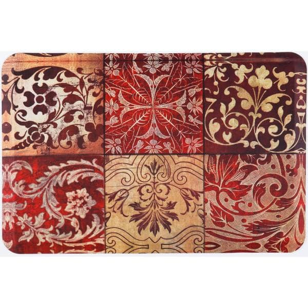 Home Dynamix Designer Chef Red Mosaic 24 In X 36 In Anti Fatigue Kitchen Mat 4 Dc03 The Home Depot