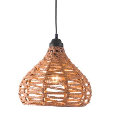 Nezz 1-Light Natural Pendant with Synthetic woven shade