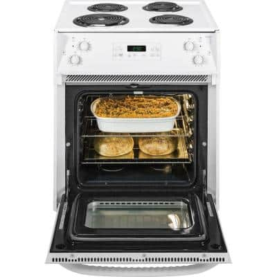 27 in. 3.0 cu. ft. Drop-In Electric Range with Self-Cleaning Oven in White