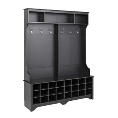 60 in. Black Wide Hall Tree with 24 Shoe Cubbies