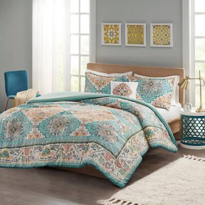 Jasmine 3-Piece Teal Twin/Twin XL Polyester Seersucker Boho Printed Comforter Set