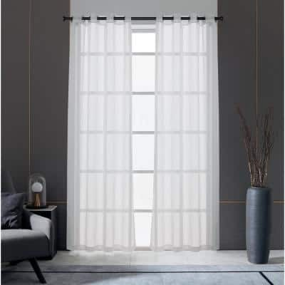 Trinity 84 in.L x 52 in. W Sheer Polyester Curtain in White
