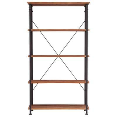 72 in. Rustic Pine Metal 4-shelf Etagere Bookcase with Open Back