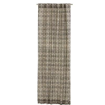 Black Geometric Rod Pocket Room Darkening Curtain - 50 in. W x 108 in. L