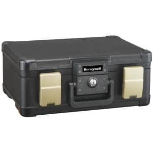 0.24 cu. ft. Molded Fire Resistant and Waterproof Portable Chest with Carry Handle, Key and Double Latch Lock