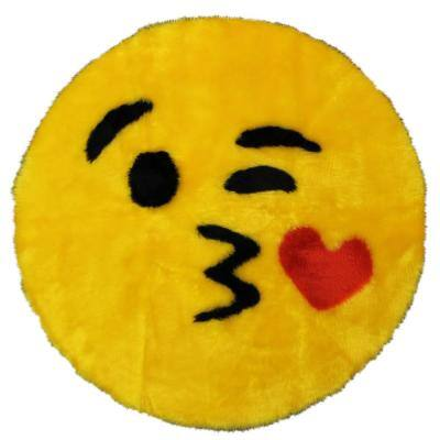 Kiss Emoji Yellow  2 ft. x 2 ft. Luxuriously Soft and Eco Friendly Round Faux Fur Kids Play Area Rug