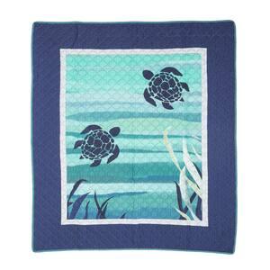 Summer Surf Blue Cotton Throw