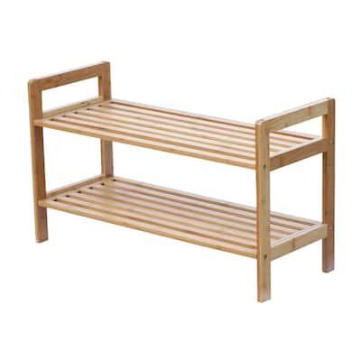 6 to 8-Pair 2-Tier Bamboo Shoe Organizer