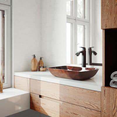 Glass Rectangular Vessel Bathroom Sink in Red/Brown Fusion with Linus Faucet and Pop-Up Drain in Antique Rubbed Bronze