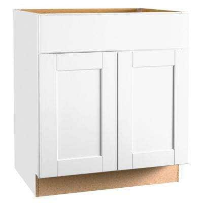 Shaker Satin White Stock Assembled Base Kitchen Cabinet with Ball-Bearing Drawer Glides (30 in. x 34.5 in. x 24 in.)