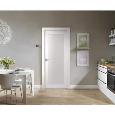 24 in. x 80 in. Smart Pro 207 Polar White Solid Core Wood 1-Lite Frosted Glass Interior Door Slab No Bore