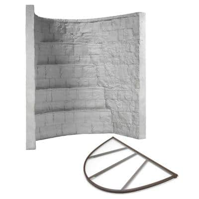 66 in. x 44 in. x 84 in. Grey Composite Window Well with Polycarbonate Cover