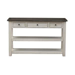 St. Claire 48 in. White/Black Standard Rectangle Wood Console Table with Drawers