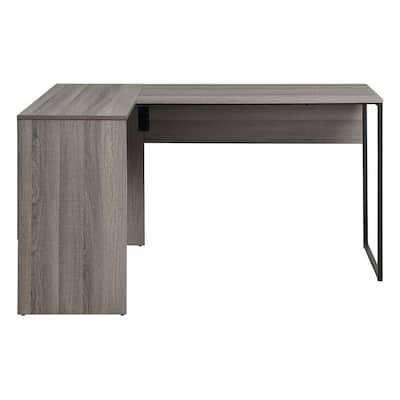 Hagney Lane 55 in. L Gray Oak Finish and Metal Frame Shape Desk