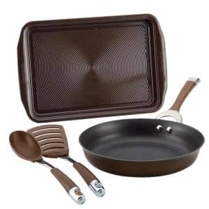 Symmetry 4-Piece Hard-Anodized Aluminum Nonstick Cookware Set in Chocolate