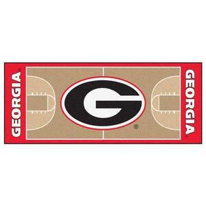 NCAA University of Georgia Cream 3 ft. x 6 ft. Basketball Runner Rug