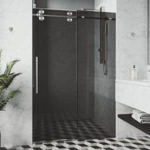 Elan 56 to 60 in. W x 74 in. H Sliding Frameless Shower Door in Stainless Steel with Black Tinted Glass