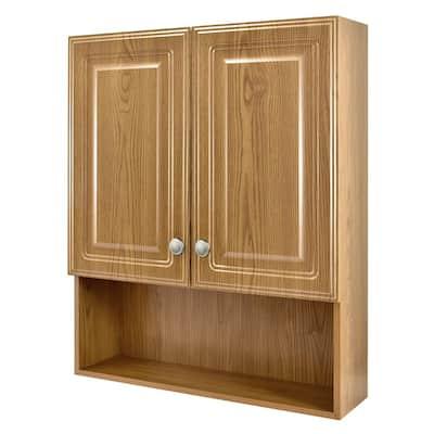 23-1/8 in. W x 27-7/8 in. H Framed Surface-Mount Bathroom Medicine Cabinet in Oak