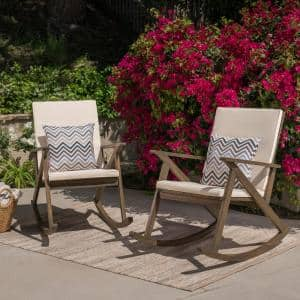 Gus Gray Wood Outdoor Rocking Chairs with Cream Cushions (2-Pack)