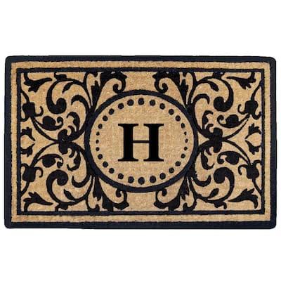 Heritage 22 in. x 36 in. Heavy Duty Coir Monogrammed H Door Mat