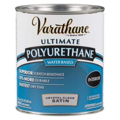 1 qt. Clear Satin Water-Based Interior Polyurethane (2-Pack)