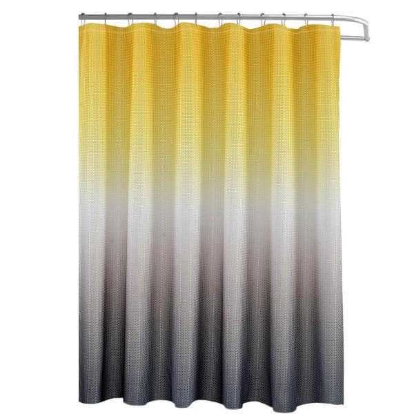 Texture Printed Shower Curtain Set, Yellow And White Shower Curtains