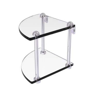 8 in. 2-Tier Corner Glass Shelf in Polished Chrome