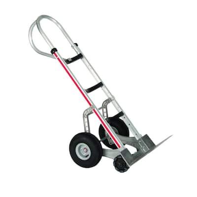 500 lb. Capacity Self-Stabilizing Aluminum Hand Truck, 10 in. Foam Wheels and Triple Row Multi-Directional Roller Wheels