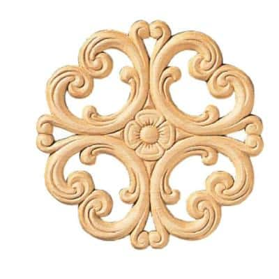 3202PK 7/32 in. x 5-1/4 in. x 5-1/4 in. Birch Victorian Rosette Onlay Ornament Moulding