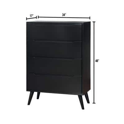 Lennart II 4-Drawers Black Mid-Century Modern Style Chest of Drawers