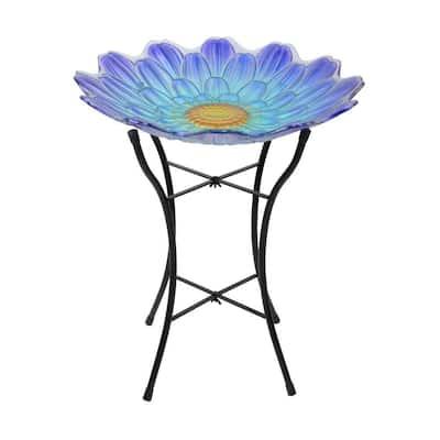 Outdoor 18 in. Purple and Blue Handpainted Flower Fusion Glass Birdbath