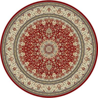 Nicholson Red/Ivory 5 ft. x 5 ft. Round Indoor Area Rug