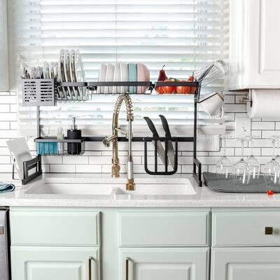 Over the Sink Dish Drying Rack, Basic Large Dish Rack Stainless Steel Dish Drainer Non-Slip Dish Dryer Utensil Holder