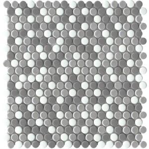 Confetti II Freddo 11.81 in. x 11.81 in. Penny Glossy & matte blend Glass Mosaic Tile (0.969 sq. ft./Each)