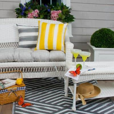 Portico 44 in. x 19 in. x 5 in. Outdoor Rectangular Loveseat Cushion in Grey